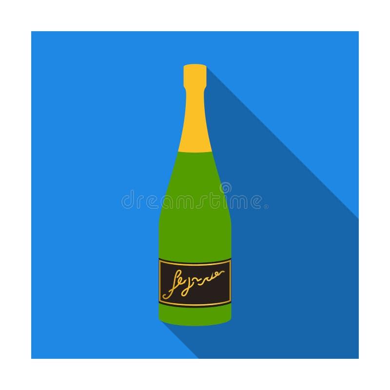 Botella de icono del champán en estilo plano aislado en el fondo blanco Símbolo de la producción de vino libre illustration