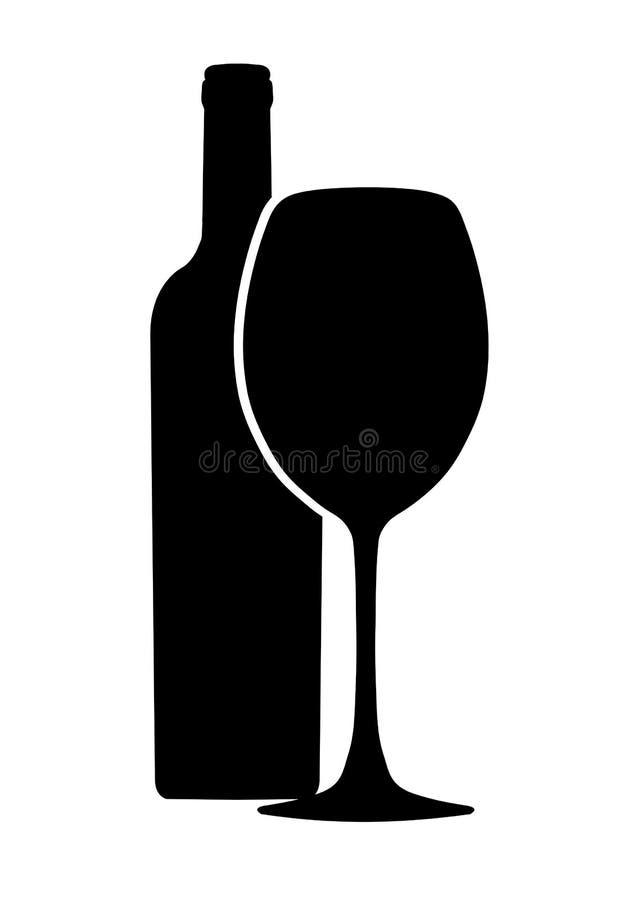 Botella de icono del vector del vino y de la copa, logotipo, muestra, emblema, silueta aislada en el fondo blanco stock de ilustración