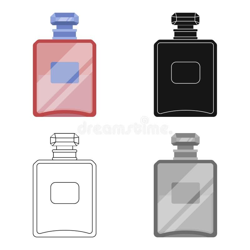 Botella de icono francés del perfume en estilo de la historieta aislado en el fondo blanco Vector de la acción del símbolo del pa libre illustration