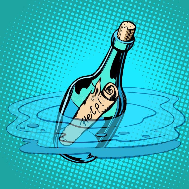 Botella de la ayuda con la nota, mar ilustración del vector