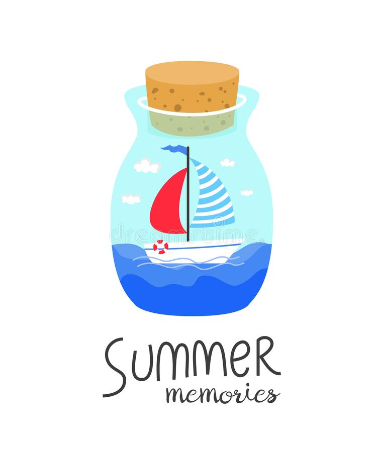 Botella de la historieta con memorias del verano libre illustration