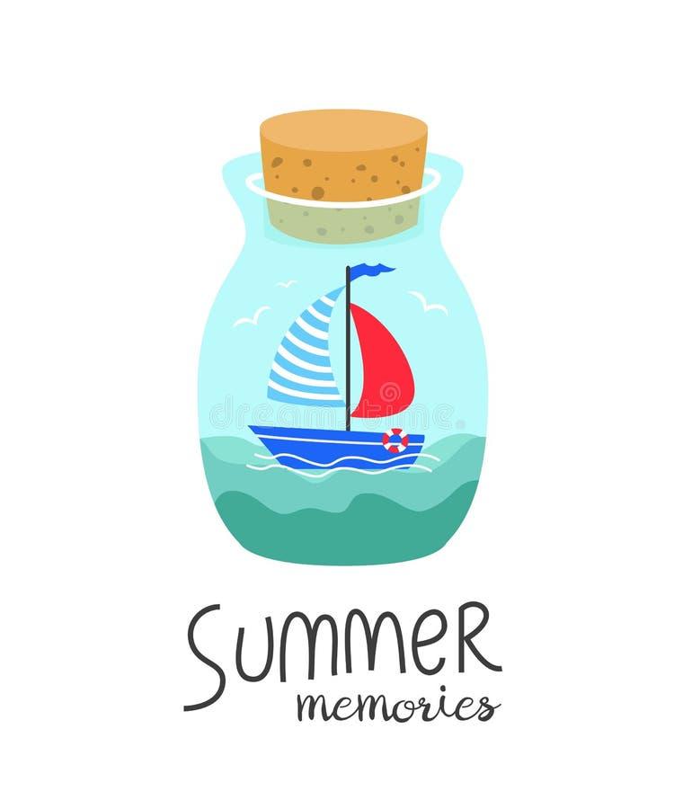 Botella de la historieta con memorias del verano ilustración del vector