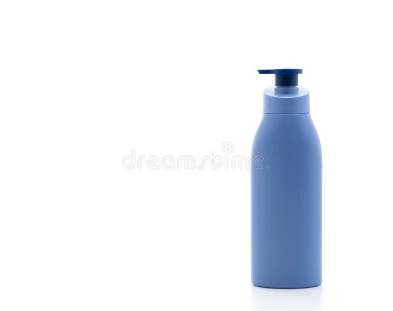 botella de la loción, de la crema o del gel del baño en el fondo blanco fotos de archivo libres de regalías