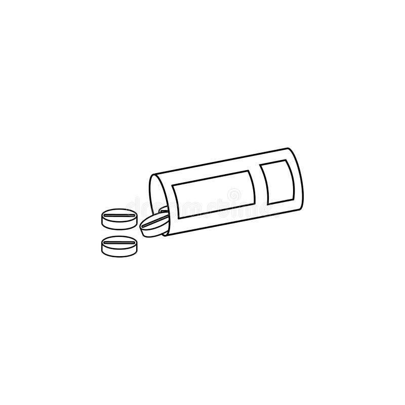 Botella de la medicina y línea icono de las píldoras El elemento de la medicina equipa el icono Diseño gráfico de la calidad supe stock de ilustración
