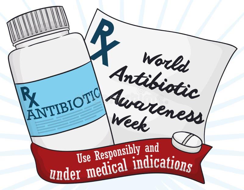 Botella de la medicina y prescripción médica que conmemoran la semana antibiótico de la conciencia del mundo, ejemplo del vector ilustración del vector