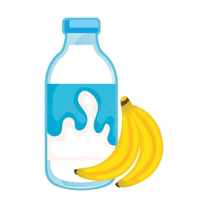Botella de leche deliciosa con los plátanos stock de ilustración