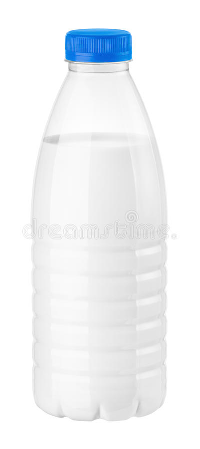 Botella de leche o de kéfir imagen de archivo