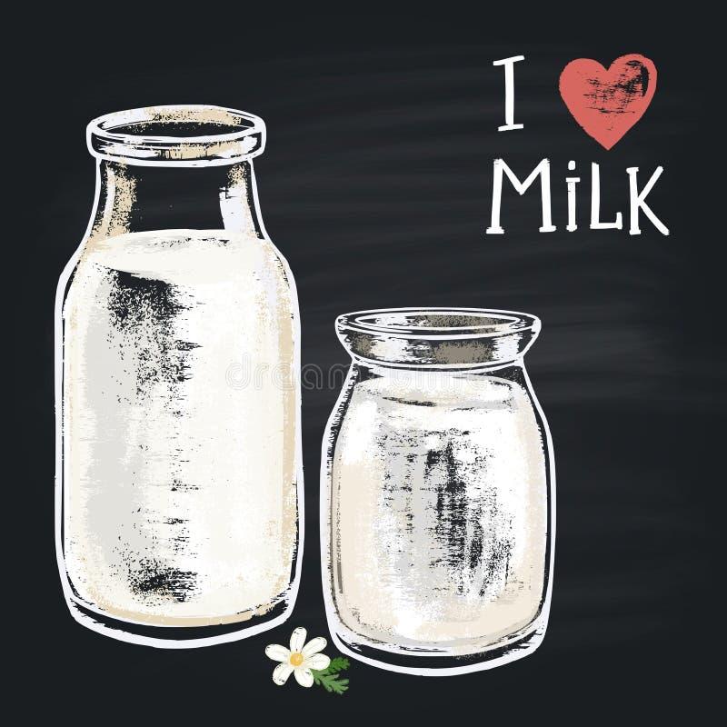 Botella de leche pintada tiza coloreada del ejemplo La tiza de la frase: Amo la leche stock de ilustración