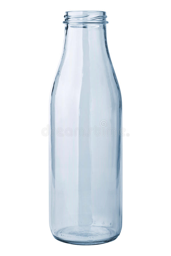 Botella de leche vacía fotos de archivo