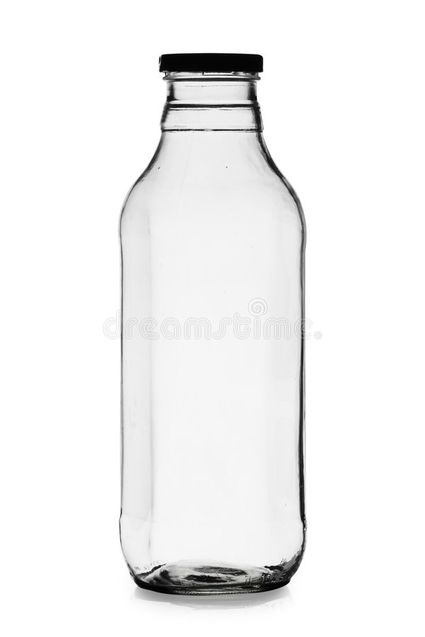 Botella de leche vacía imágenes de archivo libres de regalías