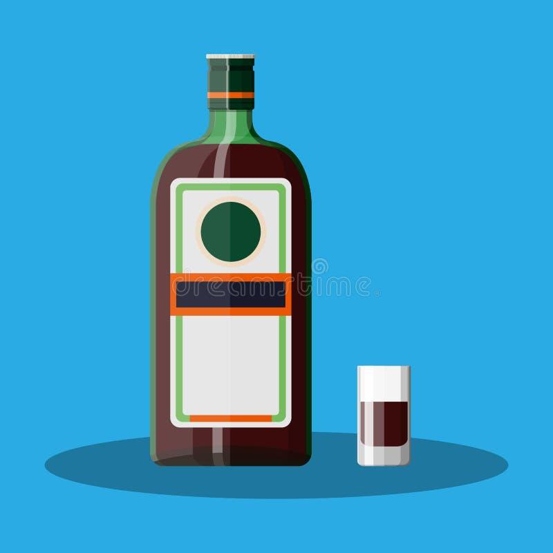 Botella de licor de la hierba con el vaso de medida stock de ilustración