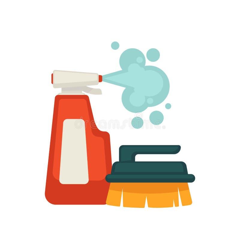 Botella de limpiador y de cepillo del espray con la manija ilustración del vector