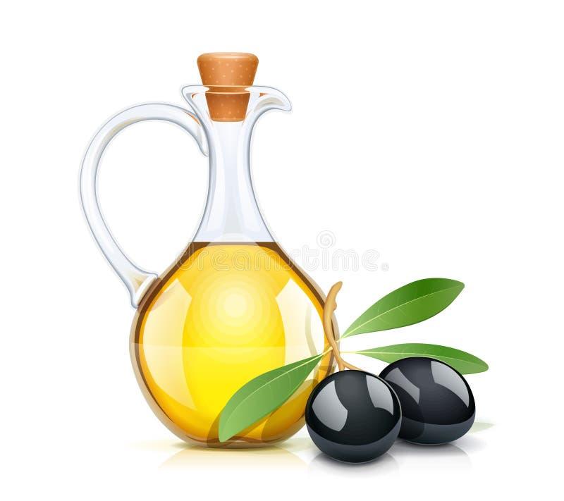 Botella de los aceites de oliva negra con el corcho Jarro de cristal libre illustration