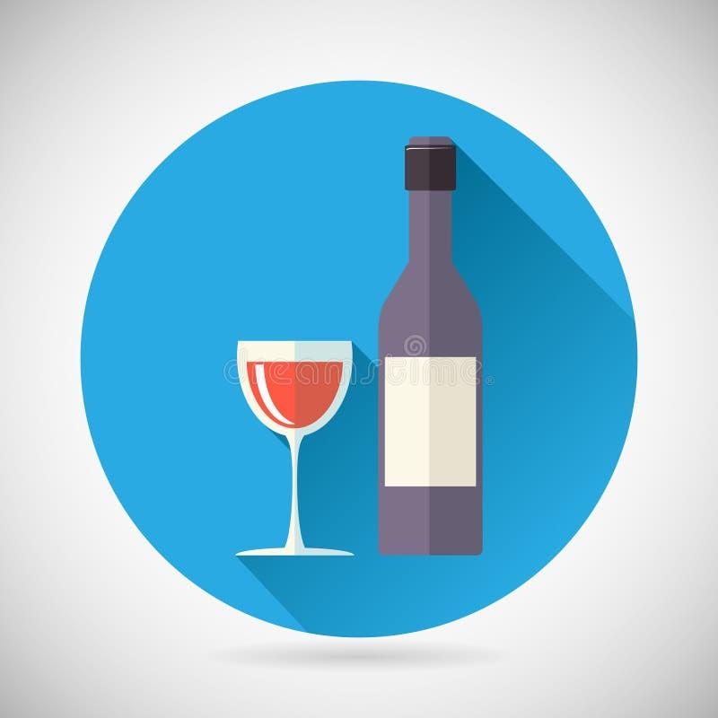 Botella de lujo del símbolo del alcohol del vino con el tapón y ilustración del vector