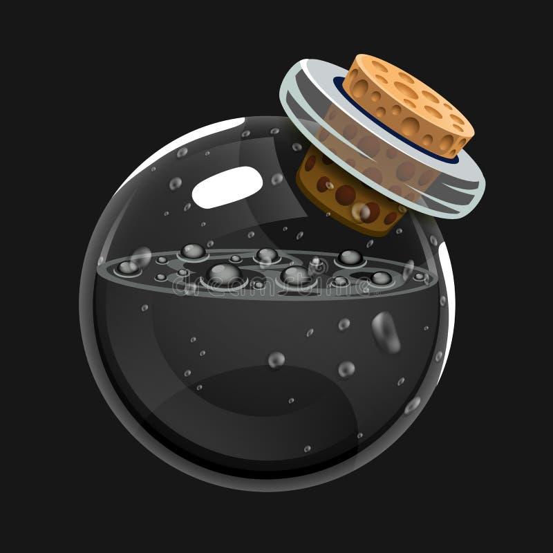 Botella de muerte Icono del juego del elixir mágico Interfaz para el juego RPG o match3 ilustración del vector