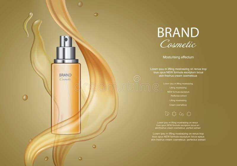 Botella de oro del espray, anuncios cosméticos del aceite de pelo, anuncio de producto con textura que salpica esencial libre illustration
