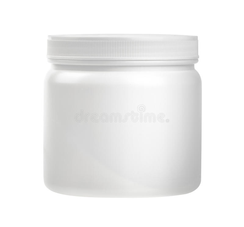 Botella de píldora blanca de la medicina aislada en un fondo blanco con c fotos de archivo libres de regalías