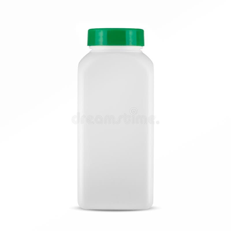 Botella de píldora blanca de la medicina aislada en un fondo blanco foto de archivo libre de regalías