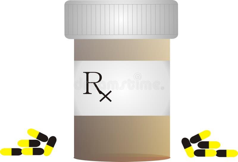 Botella de píldora con el símbolo de Rx libre illustration