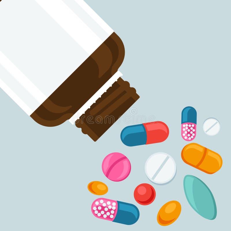 Botella de píldora con las diversas píldoras y cápsulas stock de ilustración