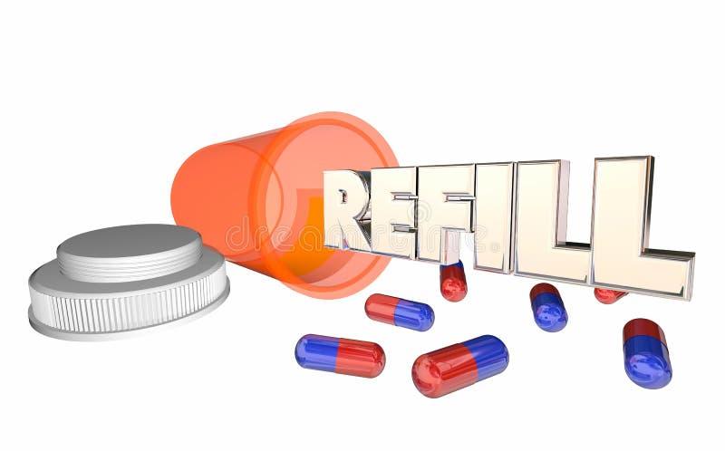 Botella de píldora de la medicina de la prescripción del repuesto que corre hacia fuera stock de ilustración
