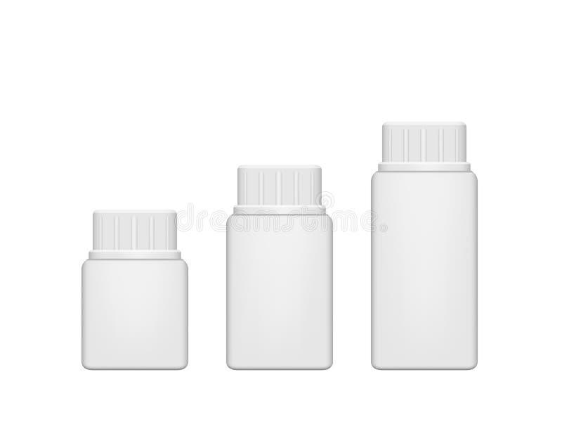 Botella de píldora plástica realista Mofa para arriba, vector ilustración del vector