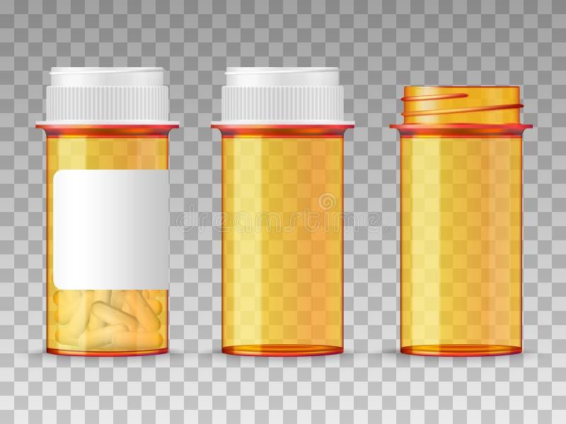 Botella de píldoras anaranjada médica del vector realista aislada en fondo transparente Cerrado vacío, abierto, y con un espacio  ilustración del vector