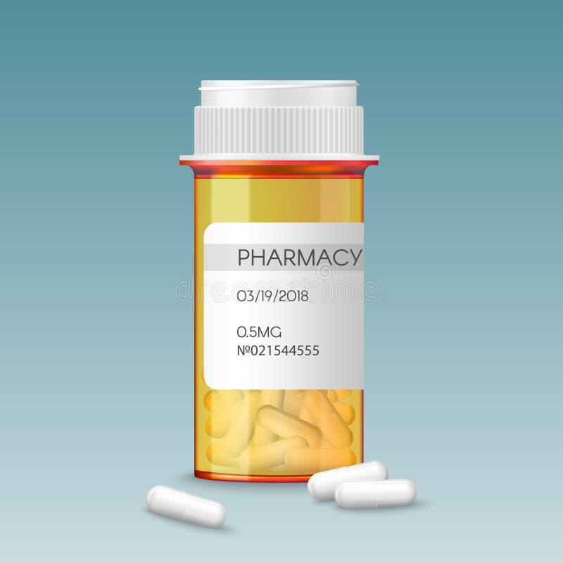 Botella de píldoras anaranjada médica del vector realista con las tabletas en blanco de la etiqueta de una medicina de la prescri ilustración del vector