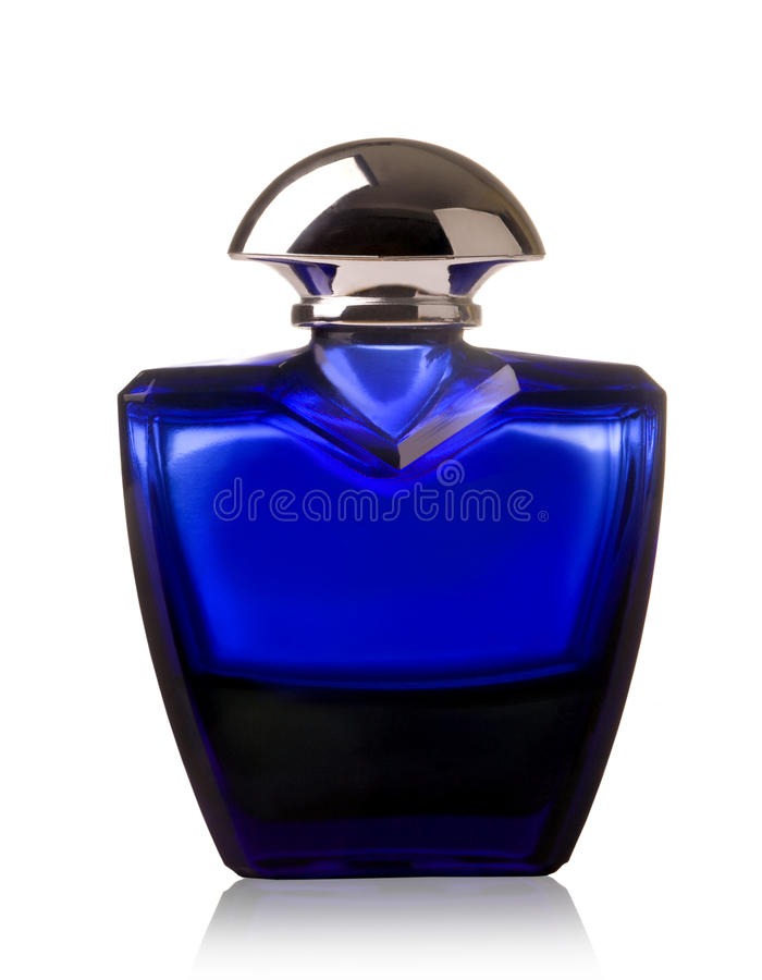 Botella de perfume azul imágenes de archivo libres de regalías