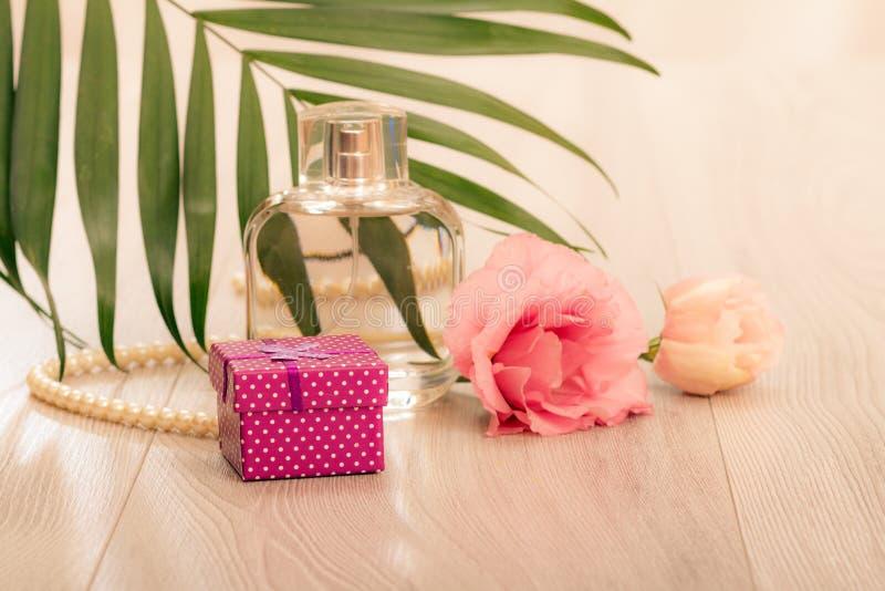 Botella de perfume de la mujer con las gotas en una secuencia, flores y hojas verdes en fondo rosado foto de archivo libre de regalías