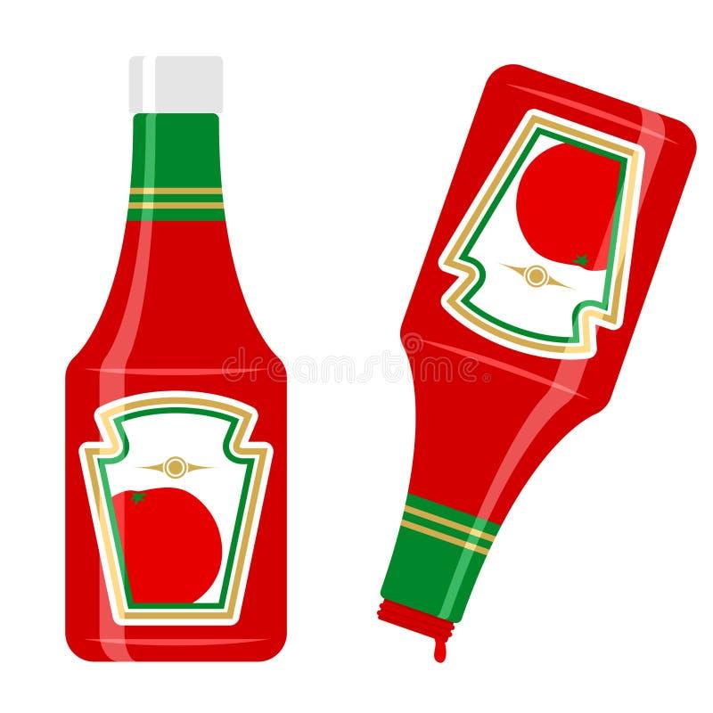 Botella de salsa de tomate stock de ilustración