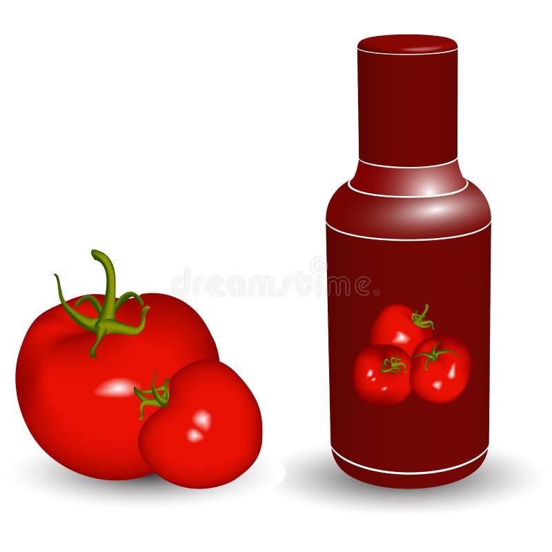 Botella de salsa de tomate con los tomates stock de ilustración
