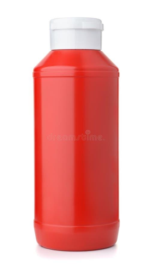 Botella de salsa de tomate plástica foto de archivo libre de regalías