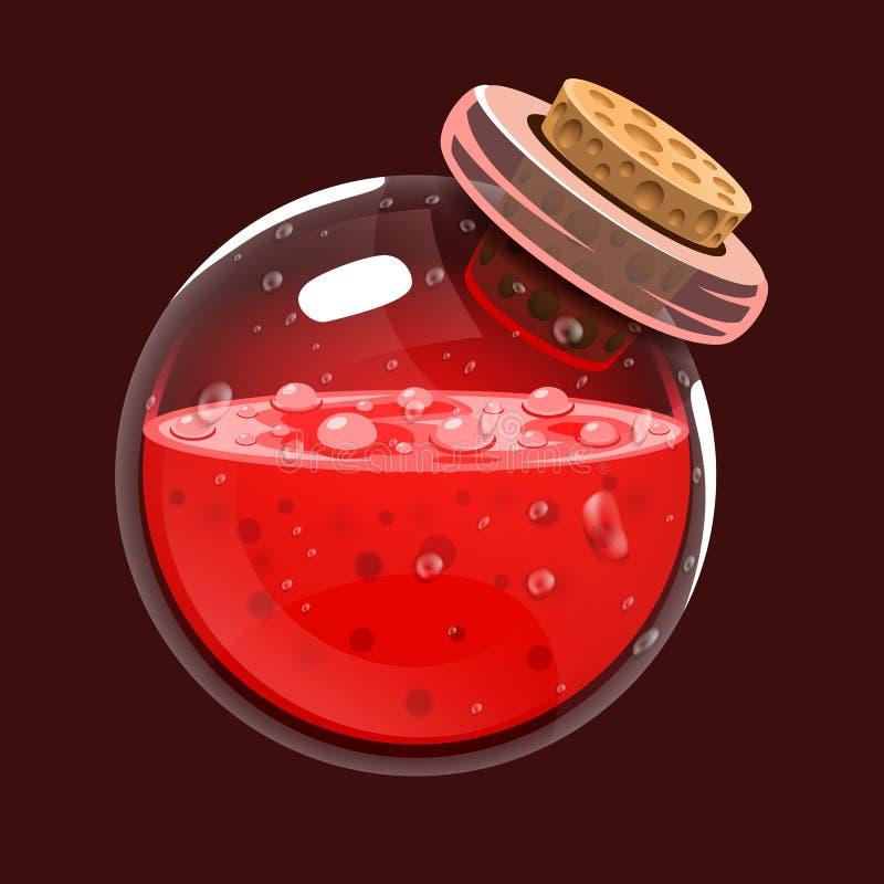 Botella de sangre Icono del juego del elixir mágico Interfaz para el juego RPG o match3 Sangre o vida Variante grande stock de ilustración