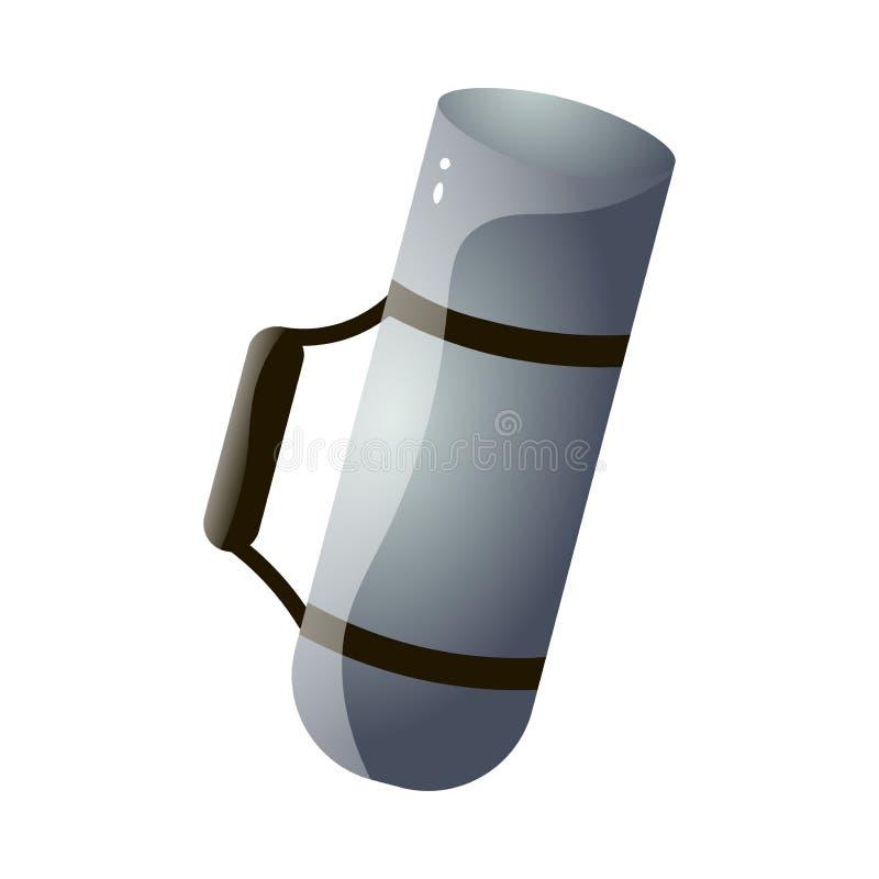 Botella de termo del metal para acampar o caminar el uso, color gris ilustración del vector