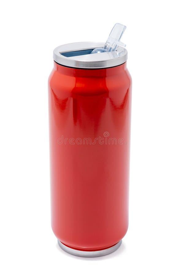 Botella de termo roja o vaso de acero inoxidable del viaje del termo foto de archivo libre de regalías