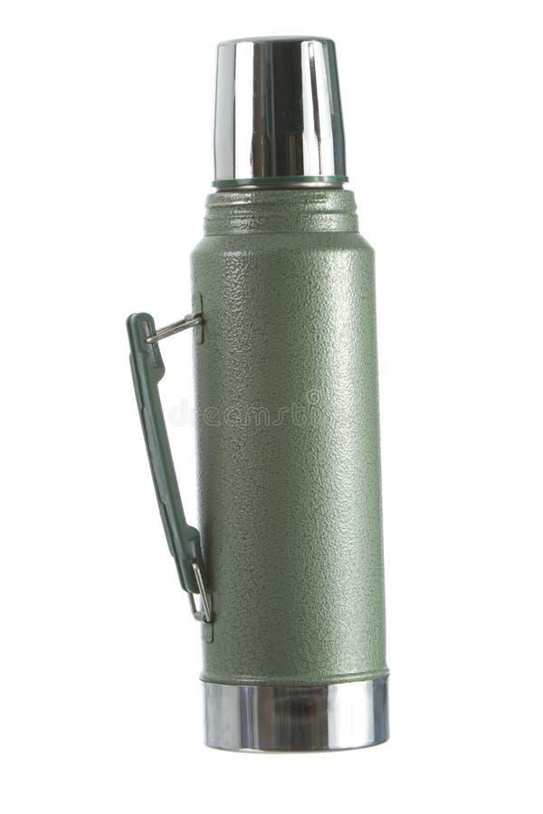 Botella de thermos del café isolasted en blanco fotografía de archivo