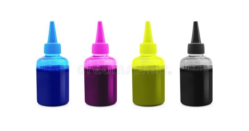 Botella de tinta de CMYK para la máquina de la impresora en fondo aislado con la trayectoria de recortes imágenes de archivo libres de regalías