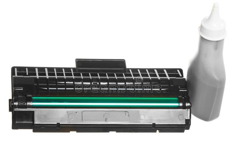 Botella de tinta verde negra del cartucho aislada Equipo de la tecnología fotografía de archivo