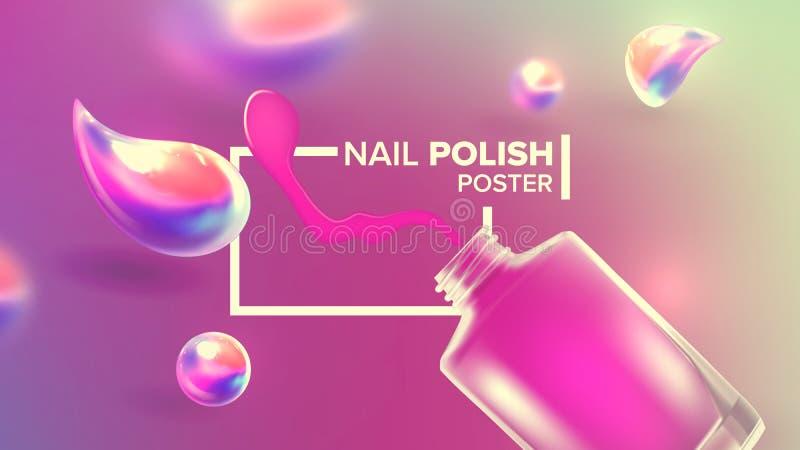 Botella de vector rosado del cartel del producto del esmalte de uñas libre illustration