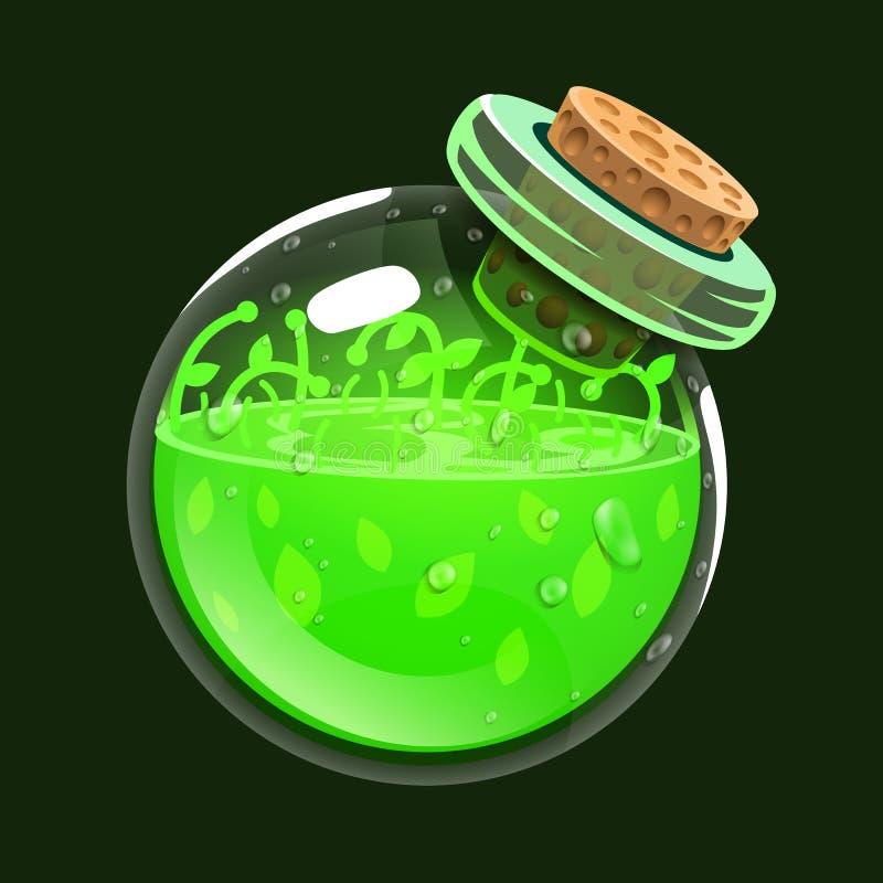 Botella de vida Icono del juego del elixir mágico Interfaz para el juego RPG o match3 Salud o naturaleza Variante grande ilustración del vector