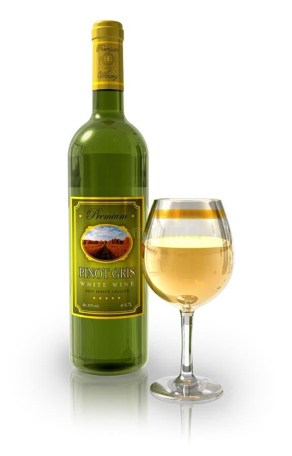 Botella de vino blanco y de cubilete cristalino lleno stock de ilustración