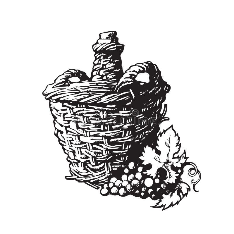 Botella de vino con el manojo de uvas libre illustration