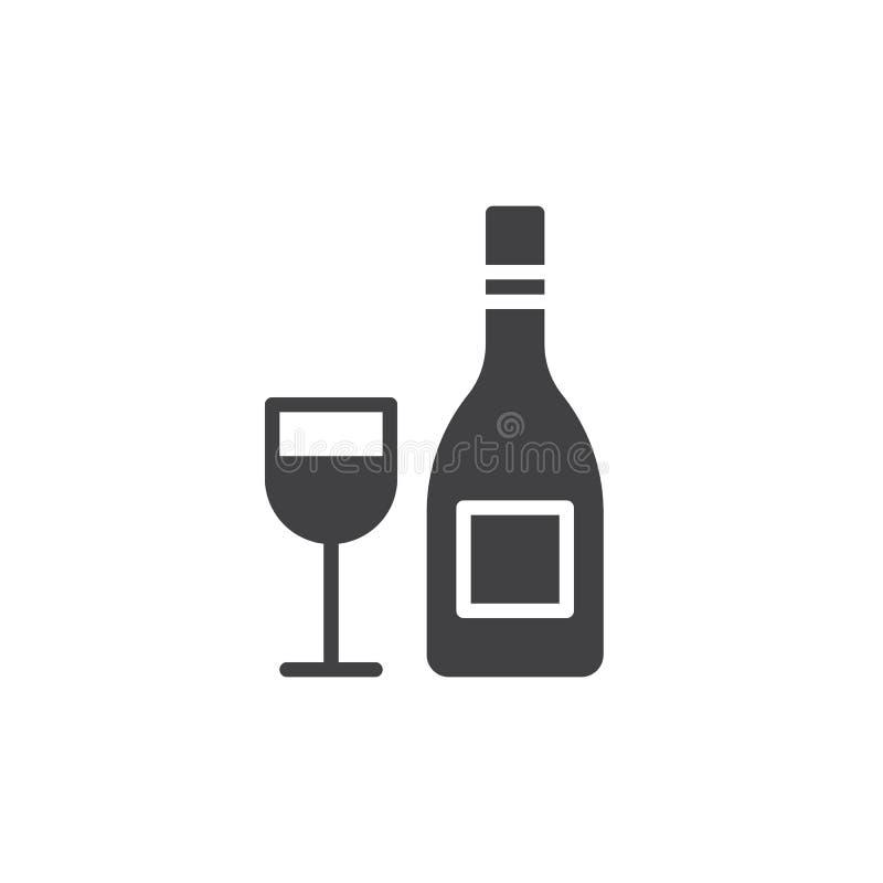 Botella de vino con el vector del icono de la copa, muestra plana llenada, pictograma sólido aislado en blanco libre illustration
