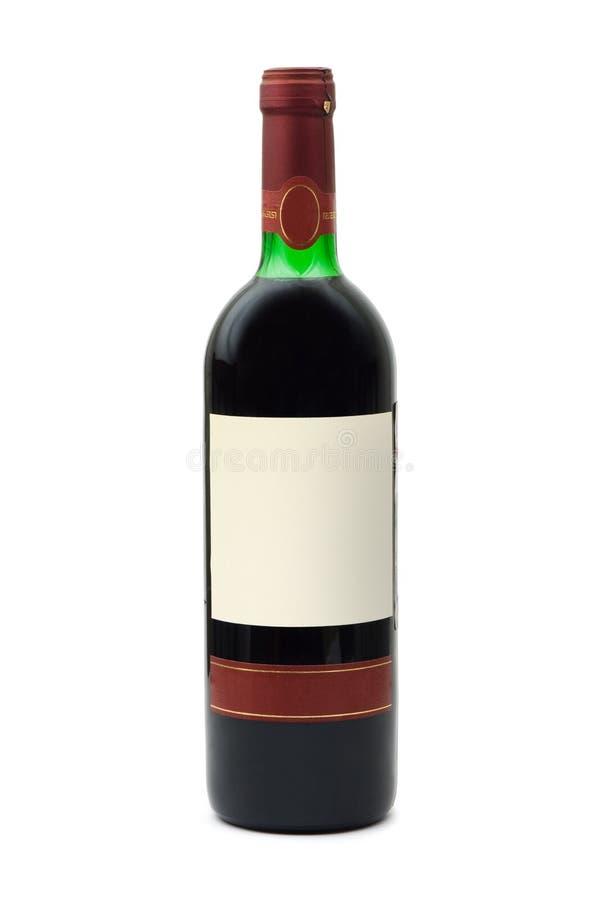 Botella de vino con la escritura de la etiqueta vacía imagenes de archivo