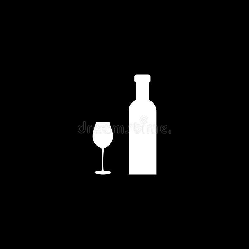 Botella de vino con la silueta blanca del icono de la copa de vino aislada en fondo negro Ilustraci?n del vector libre illustration