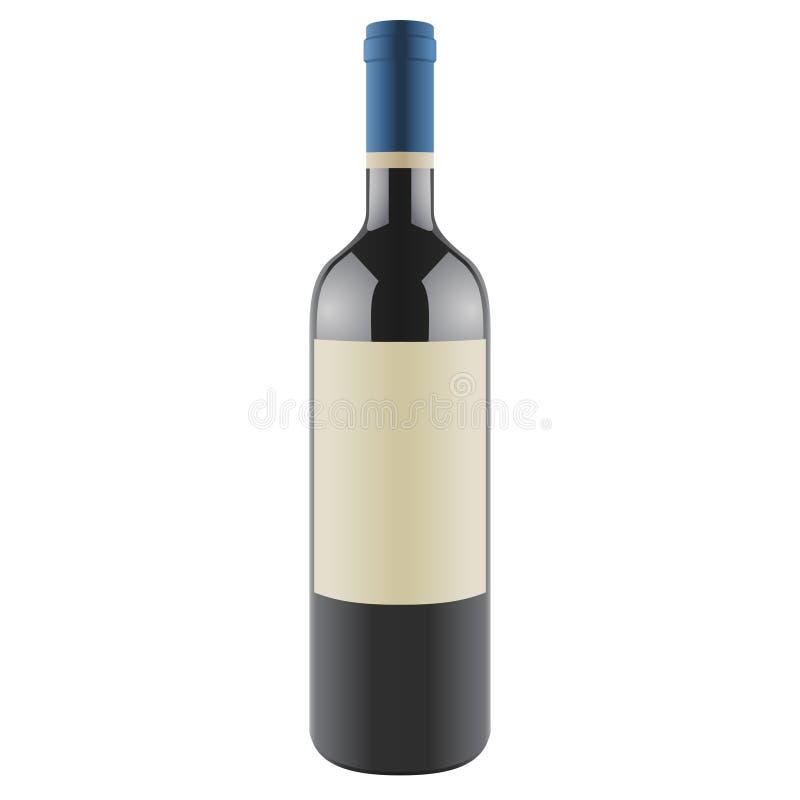 Botella de vino con una escritura de la etiqueta en blanco, vector ilustración del vector