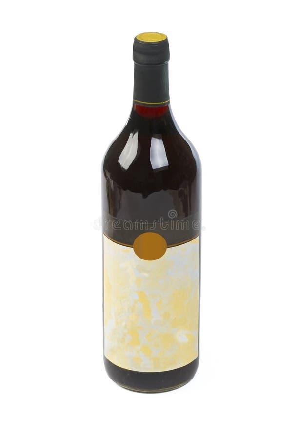 Botella de vino de calidad con la escritura de la etiqueta en blanco imágenes de archivo libres de regalías