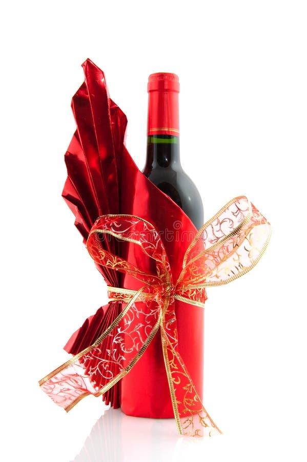Botella de vino de la Navidad imagenes de archivo