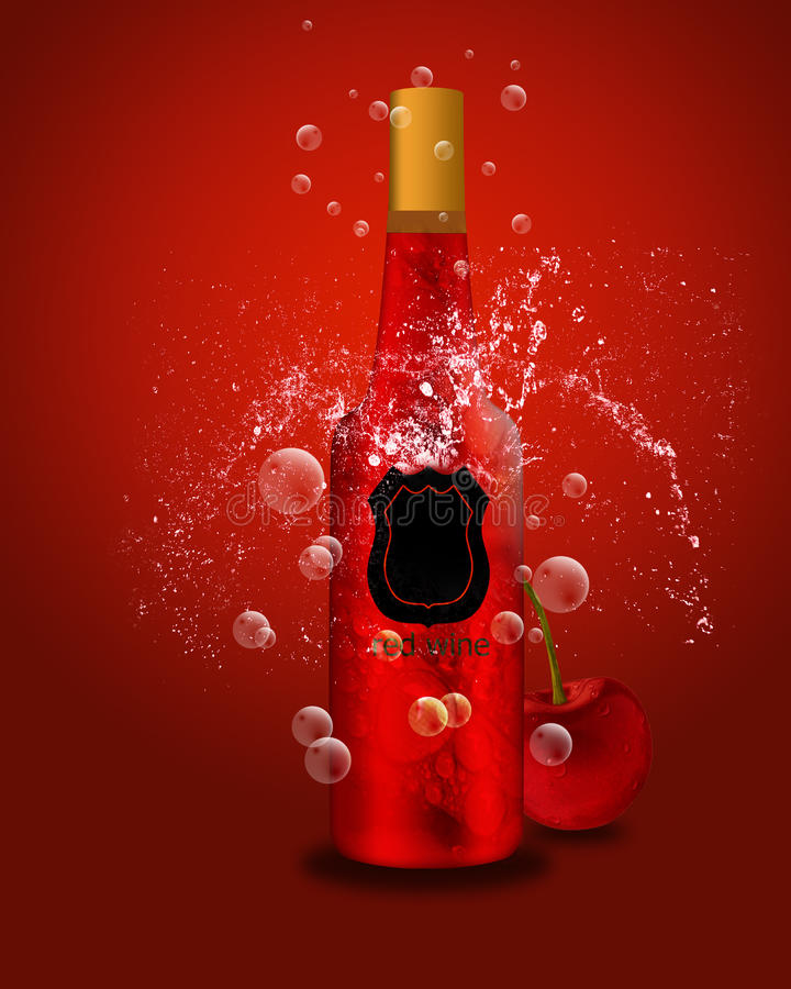 Download Botella De Vino Espumoso Y De Cereza Stock de ilustración - Ilustración de botella, aromático: 41902451